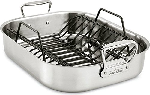 All-Clad E752C264 Stainless Steel Dishwasher Safe Large 13-Inch x 16-Inch Roaster with Nonstick Rack Cookware, 16-Inch, ()