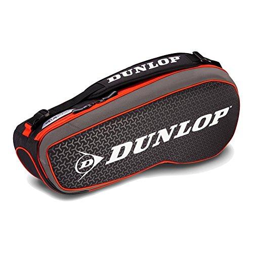 DUNLOP LUGG Performance 3 Pack Tennis Bag, Grey/Red 3 Racquet Thermal Tennis Bag