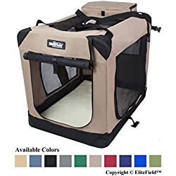 "EliteField 3-Door Folding Soft Dog Crate, Indoor & Outdoor Pet Home, Multiple Sizes and Colors Available (30"" L x 21"" W x 24"" H, Khaki)"