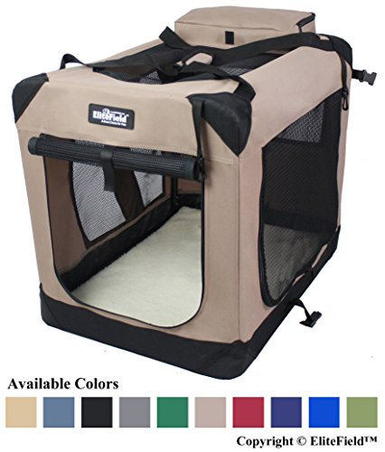 House Crate (EliteField 3-Door Folding Soft Dog Crate, Indoor & Outdoor Pet Home, Multiple Sizes and Colors Available (36