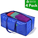 Heavy Duty Extra Large Storage Bags Moving Bag Totes (4-Pack). XL Storage Bins, Clothes Organizer. Great for Blankets, Comforter, Bedroom closet, Dorm...