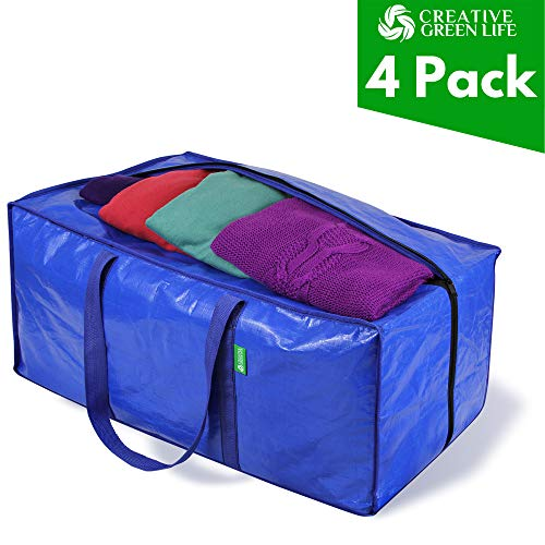 Heavy Duty Extra Large Storage Bags Moving Bag Totes (4-Pack). XL Storage Bins, Clothes Organizer. Great for Blankets, Comforter, Bedroom closet, Dorm Room Essentials, Moving Supplies, Clothes Storage (Store Clothing College)