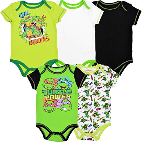 Onesies For Teenage Girls (Nickelodeon Baby Baby-Boys Infant Newborn TMNT 5 Pack Creeper, Green, 6-9)