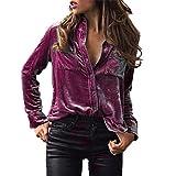 Gocheaper New Womens Solid Velvet Turn-Dowm Collar Long Sleeve T-Shirt Tops Long-Sleeved Lapel Blouse (S, Purple)