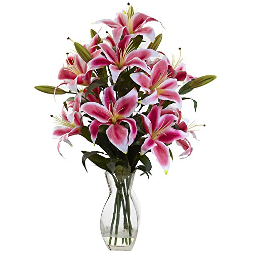 (Nearly Natural 1359 Rubrum Lily Arrangement)