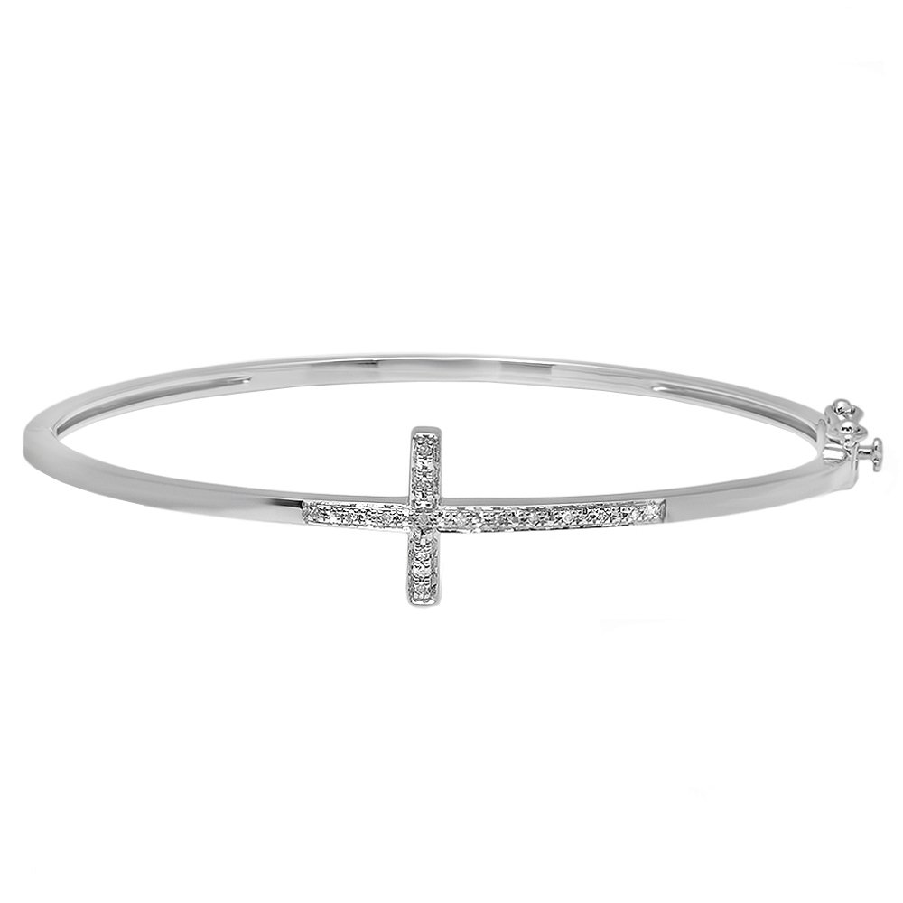 0.08 Carat (ctw) Sterling Silver Round White Diamond Ladies Sideways Cross Bangle Bracelet