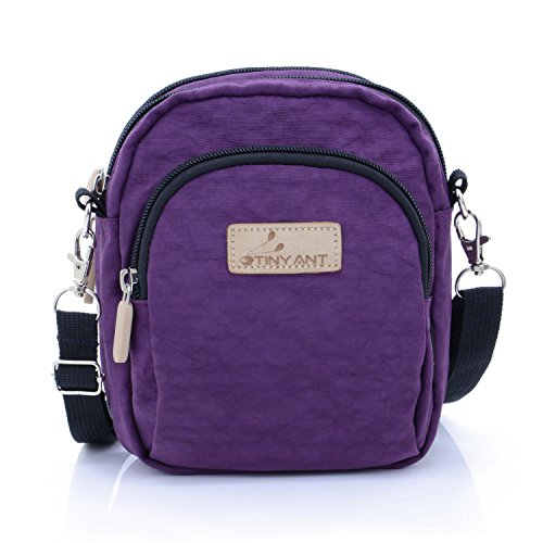 - Women's 3 Layers Wristlet Purse Zipped Cell Phone Clutch Crossbody Handbags(Waist/Shoulder Bag-Dark Purple)