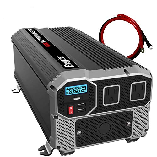 ENERGIZER 4000 Watt 12V Power Inverter, Dual 110V AC Outlets, Automotive Back Up Power Supply Car Inverter, Converts 120 Volt AC with 2 USB Ports 2.4A ()