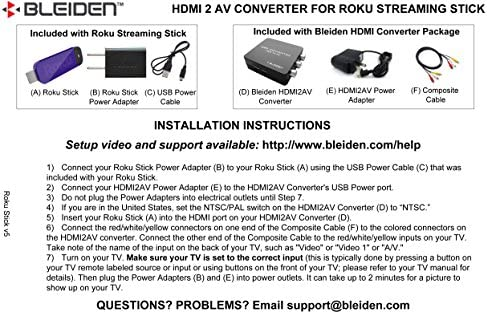 Amazon Hdmi To 3rca Composite Av Converter For Roku Streaming