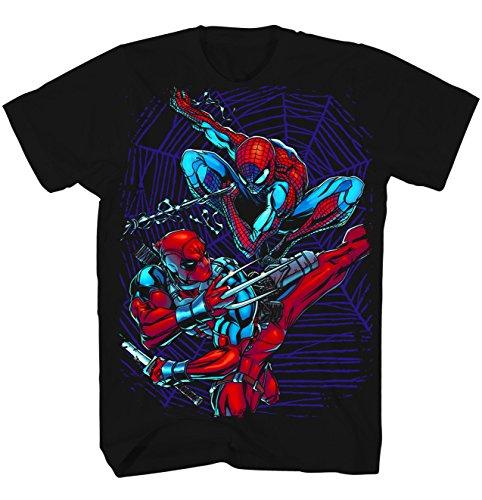 Deadpool & SpiderMan Dual Danger Black Marvel Exclusive T-Shirt (Small)