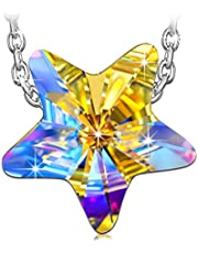 QIANSE Necklace Gifts for Women Star Swarovski Crystal Necklaces for Women Teenager Star Jewelry for Women Silver Necklace for Her