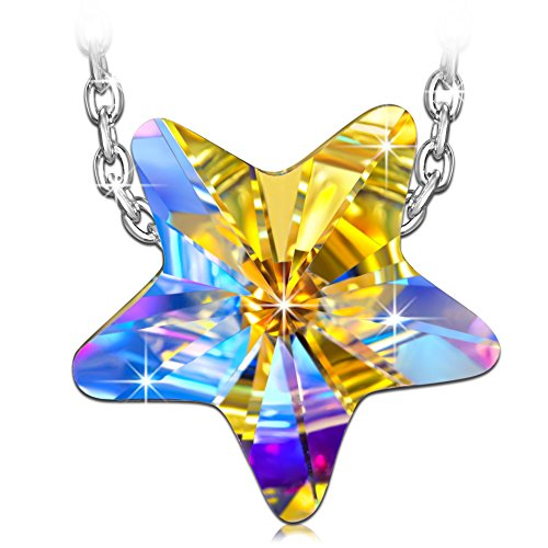 QIANSE Valentine Gifts Necklaces for Women 925 Sterling Silver Lucky Star Necklaces Made with Swarovski Crystal, Star Jewelry for Women Necklaces for Women Teenager