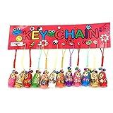 Hotusi Set of 12 Fashion Jewelry Drip Charm Key Chains Wood Matryoshka Russian Dolls Key Rings Keychains Decorative Gifts