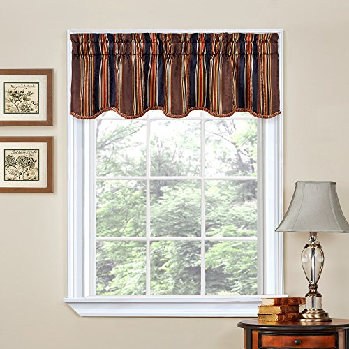 Traditions by Waverly Stripe Ensemble Scalloped Window Valance, 52x16, Onyx
