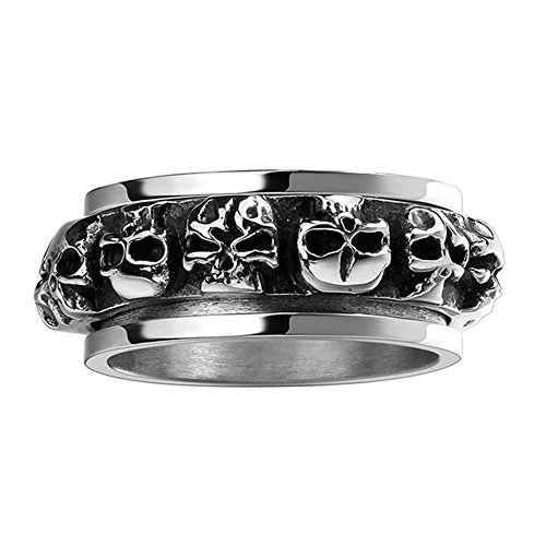 Tarnished Costume Jewelry (Punk Jewelry Mens Gothic Skull Biker Stainless Steel Ring Band Black Silver)