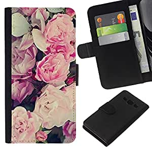 WINCASE Cuadro Funda Voltear Cuero Ranura Tarjetas TPU Carcasas Protectora Cover Case Para Samsung Galaxy A3 - patrón de flores ramo de papel tapiz