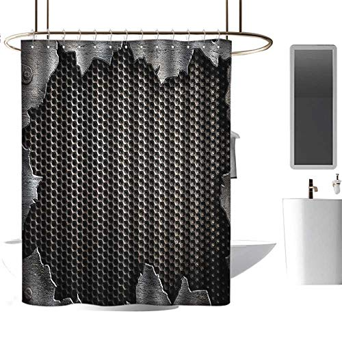 Shower Curtain Set with Hooks Modern,Grunge Metallic Background Digital Featured Cracked Futuristic Graphic Print,Charcoal Grey Easy Care Fabric with Reinforced Buttonholes W63 xH72 inch