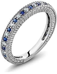 Sterling Silver Ladies Anniversary Wedding Band Ring Blue Simulated Sapphire and White Created Sapphire (0.48 Carat, Available in size 5, 6, 7, 8, 9)