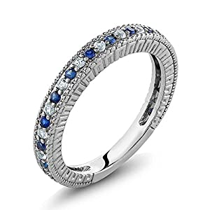Gem Stone King 925 Sterling Silver Ladies Anniversary Wedding Band Ring Blue Simulated Sapphire and White Created…