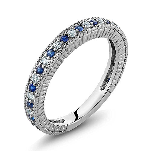(Gem Stone King Sterling Silver Ladies Anniversary Wedding Band Ring Blue and White Created Sapphire 0.48 Carat (Size 7))