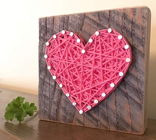 Sweet & small wooden pink heart block gift. String art heart sign. Perfect for Valentine
