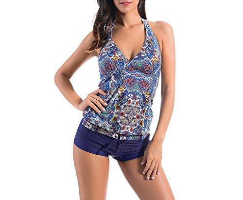 Evedaily - Tankini - Floral - para mujer Azul