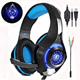 Beexcellent Gaming Headset GM-1 with Microphone for PC, PS4,Smart phone, Laptops, computer - Surround Sound, Noise Reduction Game Earphone-Easy Volume Control with LED Lighting 3.5MM Jack(Blue)