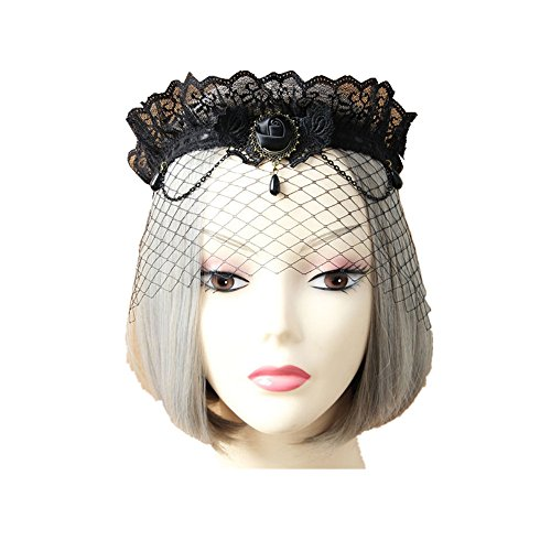 Noble Crown Veil Delicate Lace Mesh Veil Mask for Women - Child Spider Queen Costume