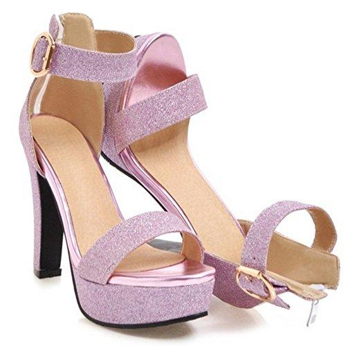Sandalias Plataforma Correa Mujer Purple de Coolcept Tobillo qEwzFRtxx5
