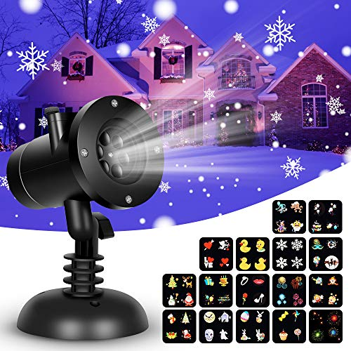 Christmas Snowflake Projector Lights - 16 Slides Decoration Projector Light Christmas Projector Lamp with Remote Control, Waterproof LED Projector Landscape Projector for Christmas Halloween Birthday ()