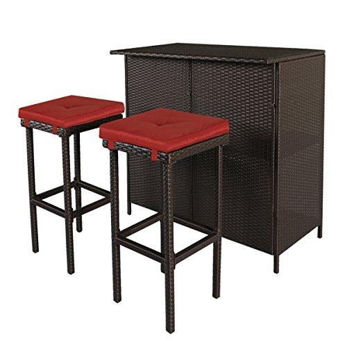 UPC 608442162432, Cloud Mountain 3 PC Wicker Bar Set Patio Outdoor Garden Backyard Rattan Table & 2 Stools Barstool Furniture Set, Brick Red Cushion