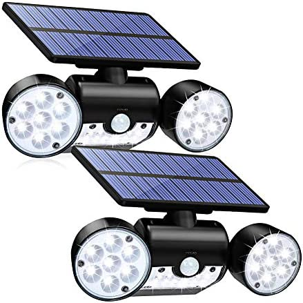 CINOTON Solar Lights Outdoor Motion Sensor 30 LED Solar Flood Light Dual Head Spotlights IP65 Waterproof 360 Rotatable Solar Landscape Light