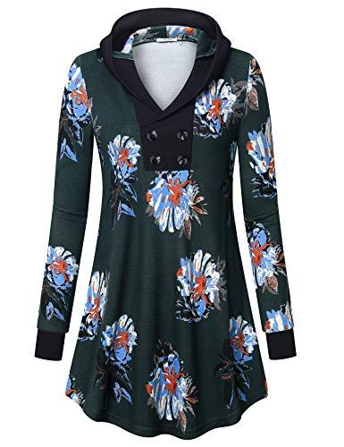 Youtalia Tunic Sweatshirts, Boutique Pocket Long Sleeve Knitwear Hoodies Floral Green L