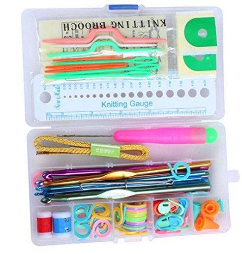 greatfun 1Set Ganchos de crochet de aluminio agujas de tejer (Kit Set hilo de tejer agujas de coser