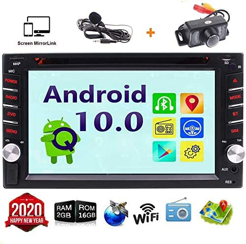 Android 10.0 Car Stereo Double 2 din Head Unit GPS Capacitive Touch Screen In Dash Car DVD CD Player GPS Navigation WiFi Bluetooth Autoradio Mirrorlink 4G FM AM RDS Radio Receiver External Mic Rear Ca