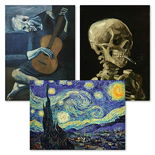 "3 Pack: Vincent Van Gogh Skeleton + Starry Night + The Old Guitarist by Pablo Picasso Poster Set - Set of 3 Fine Art Prints (LAMINATED, 18"" x 24"")"