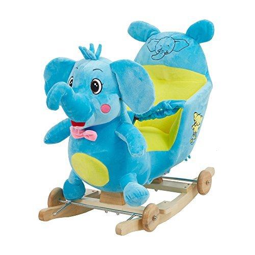 Livebest Child Plush Rocking Horse Wooden Chair Rockers with Wheels,Seat Belt Kid Rocking Horse Chair/Outdoor Rocking Horse/Rocker/Animal Ride/Rocking Toy ()