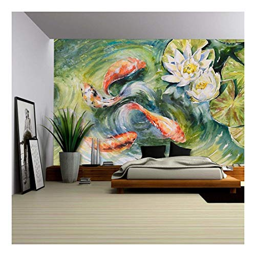 Colorful Fishes Swimming in Pond Picture Created with Watercolors
