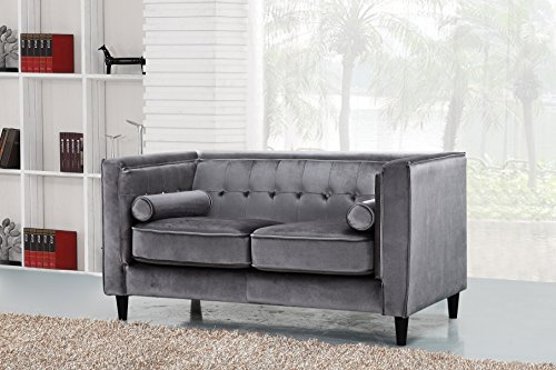 Meridian Furniture 642GRY-L Taylor Button Tufted Velvet Upholstered Tuxedo Loveseat with Square Arms, Custom Solid Wood Legs, and Included Bolster Pillows, Grey