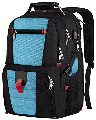 Extra Large Laptop Backpack,Durable Lightweight Travel Bag with Computer Compartment and Usb Charging Port/Headphone Hole,TSA Friendly Business Backpacks for Men & Women Holds 17inch Laptops,Blue