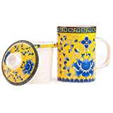 Emperor Golden Tea Cup with Detailed Large Blue Peony Flower