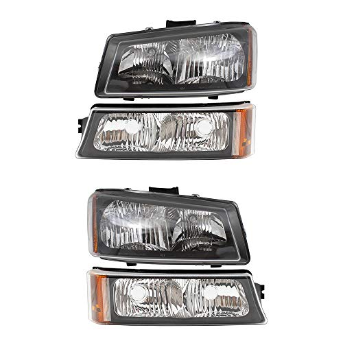 BROCK 4 Piece Set Headlights w/Front Park Signal Marker Lamps Replacement for Chevrolet Avalanche Silverado Pickup Truck