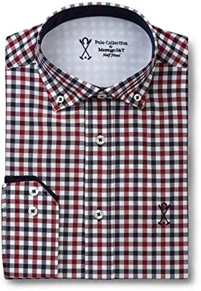 Camisa Manga Larga Semi-Entallada, con Cuadros de Color Rojo, Blanco y Azul Marino - 5_XL, Rojo Caldero: Amazon.es: Ropa y accesorios