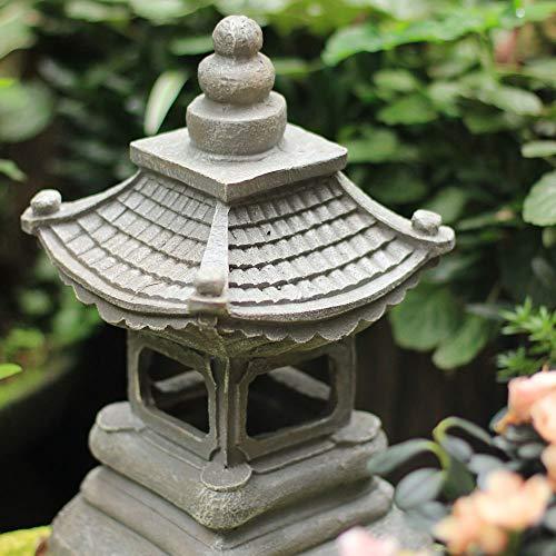 zenggp Japanese Style Solar Zen Garden Lights Lantern Pagoda Light Solar Garden Lamp Statue by zenggp (Image #5)