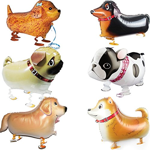 OuMuaMua Walking Animal Balloons Pet Dog Balloons - 6pcs Puppy Dogs Birthday Party Supplies Kids Balloons Animal Theme Birthday Party Decorations ()