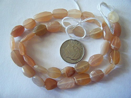Bead, Moonstone Multi Peach Faceted Oval 10x8mm Gemstone - Oval Peach