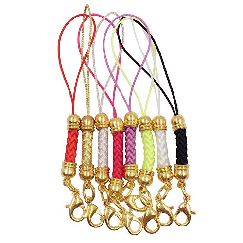 s Mobile Cell Phone Cords Charms Strap Lariat with Lobster Clasp for Cellphone/iPod/Mp3/Mp4/USB Flash Drive, 8 PCS, Gold ()