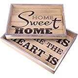 Decor Works Wooden Serving Trays with Metal Trim/ Home Sweet Home Breakfast Trays (Set of 2) (Natural)