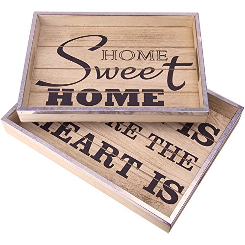 Sweet Metal (Decor Works Wooden Serving Trays with Metal Trim/ Home Sweet Home Breakfast Trays (Set of 2) (Natural))