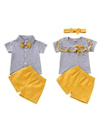 Timall Brother and Sister Matching Outfits Set Twins Matching Outfit Short Sleeve T-Shirt Tops Short Pants Headbands
